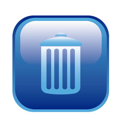 Blue square frame with trash container icon vector