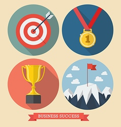 Business success flat style icons vector image vector image