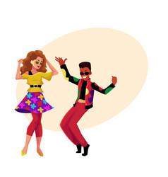 Caucasian girl and black man at eighties retro vector