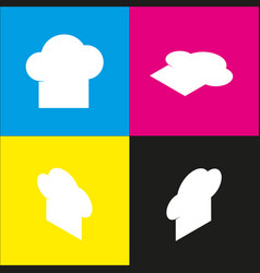 Chef cap sign white icon with isometric vector