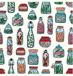 colorful seamless pattern with pickled vegetables vector image vector image