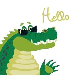 Cute crocodile says hello vector image