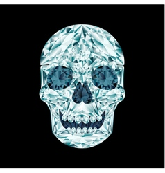 Diamond skull on black background vector image