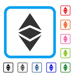 Ethereum classic framed icon vector