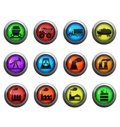 Factory and industry icons set vector