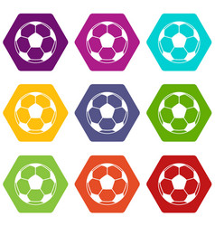football or soccer ball icon set color hexahedron vector image vector image