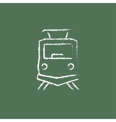 Front view of train icon drawn in chalk vector image