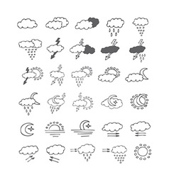 Hand drawn weather icon doodle set vector