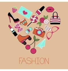 Heart shape glamorous items vector