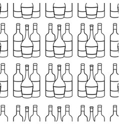 Line different wine bottles background vector