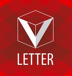 Logo the letter v in the form of a cube vector