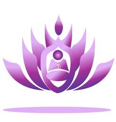 Lotus yoga logo vector image vector image