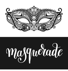 Masquerade hand lettering inscription and carnival vector