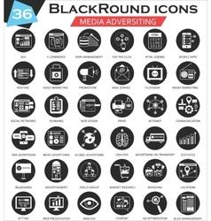 Media adversiting circle white black icon vector
