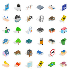Public park icons set isometric style vector
