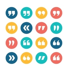 Quote marks flat circle icons set vector