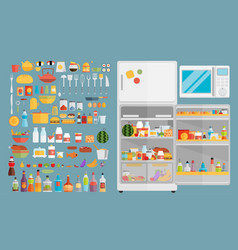 refrigerator with fooddrinks and kitchenware vector image
