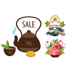 Sale teapot cup of tea a beach bag hibiscus vector