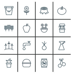 Set of 16 plant icons includes sweet berry pail vector