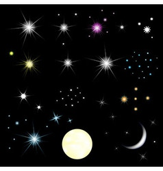 Set of stars and moon vector
