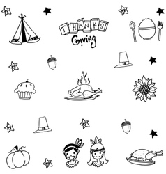 Thanksgiving doodle set with hand draw vector