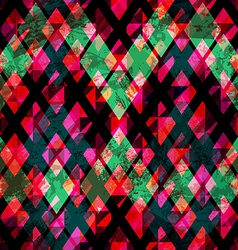 vintage diamond seamless texture with grunge vector image vector image