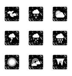 Weather forecast icons set grunge style vector image vector image