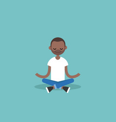 Young black man meditating with closed eyes in vector