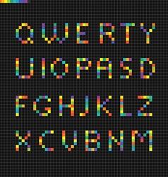 Pixelart geometric alphabet Design elements vector image