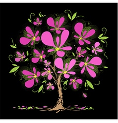 Blossoming tree with pink flowers vector image
