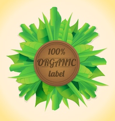 Organic leaves label vector