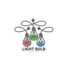 logo of three light bulbs with powers cords vector image