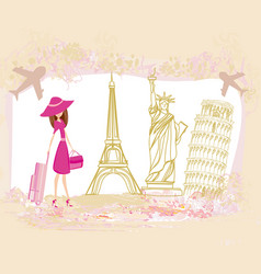 travel girl design with different monuments vector image
