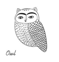 Cute hand drawn owl bird vector