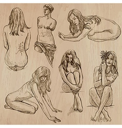 Nudity in art - hand drawn vector