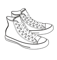 Isolated cartoon sneakers lineart vector