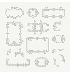 Flourishes calligraphic frame line art design vector