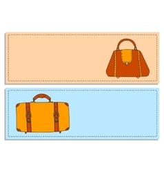 Colorful travel bags banners set vector