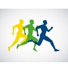 Silhouette athletes running isolated icon design vector