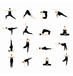 Yoga postures silhouette set vector