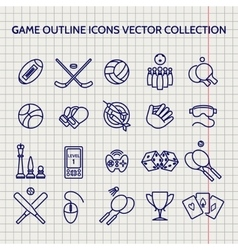 Ball pen game outline icons set vector