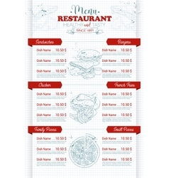 Restaurant vertical scetch menu vector