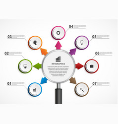 Abstract infographic with a magnifying glass vector
