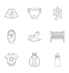 Baby supplies icons set outline style vector