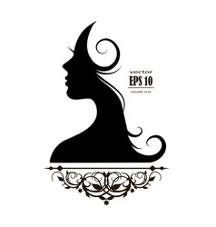 Beautiful female silhouette profile vector