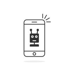 Black thin line phone with chatbot vector