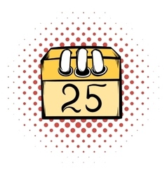 Calendar 25 number comics icon vector image