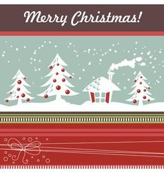 Cartoon christmas card with xmas tree vector