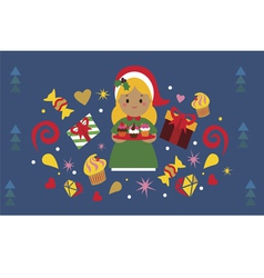 Christmas holiday design with cute girl with vector image vector image