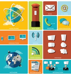 Communication and connection flat icon set vector